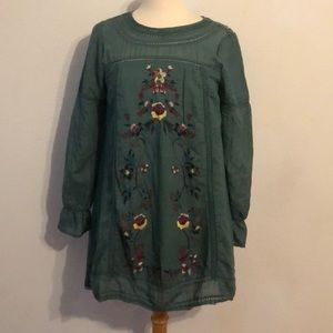 Embroidered Peasant Tunic Top